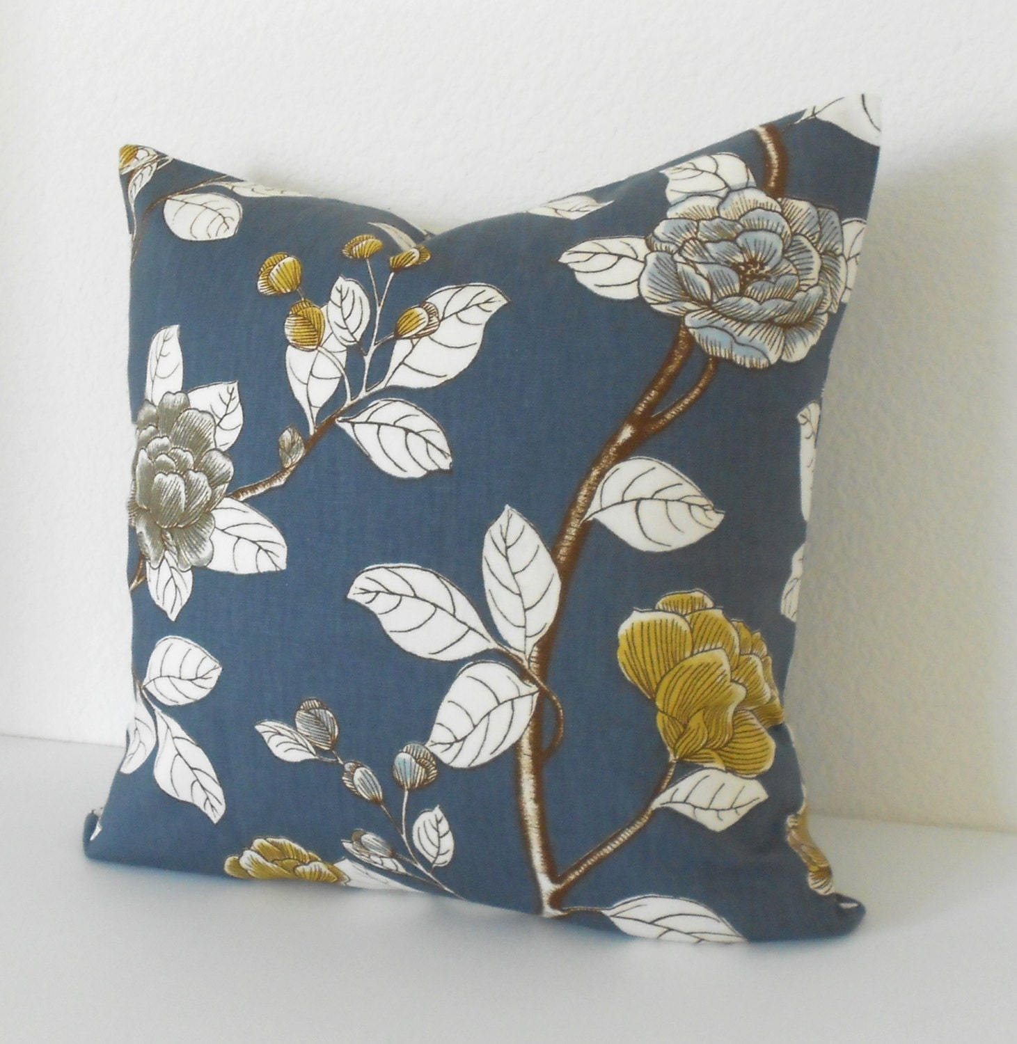Navy and yellow peony floral decorative pillow cover Dwell