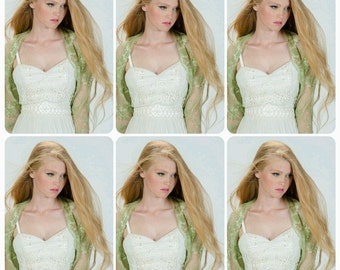 Bridesmaids Set Of Boleros Shrugs. 6 Moss Green Lace Wedding Shawl With 4 Wearing Options- Shawl, Shrug, Crisscross And Infinity Scarf DL124