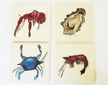 Original Art Coasters - Sandstone Coasters - Drink Coasters - Natural Stone Coasters - New Orleans Coasters - Seafood Coaster - Tile Coaster