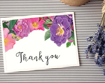 Personalized - Greeting/Thank you Cards, Custom Printable - Butterfly Garden