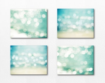 canvas wall art set nautical decor photography print set abstract canvas wall art large wall art wall decor bokeh teal aqua christmas gift