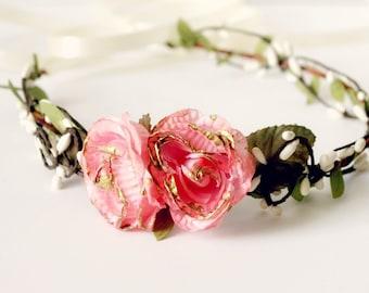 Pink Flower Wedding Fascinator, Flower Crown, Bohemian, pink and gold, Woodland,  flower crown headpiece, Bridal headpiece, Floral, Wedding