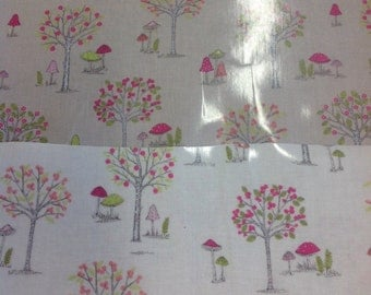 Woodland design pvc coated 100% cotton fabric in taupe or cream by the half metre