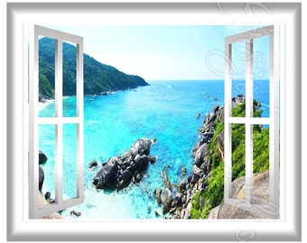 Scenic Aerial View Ocean Scene 3D Window Frame Peel and Stick Wall Mural Graphics GJ05