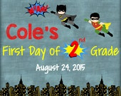 """Personalized First Day of School Announcement Sign Printable 8""""x10"""" - Superhero"""