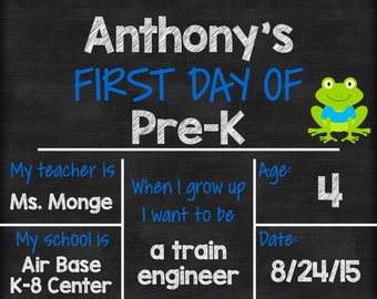 """Personalized First Day of School Announcement Sign Printable 8""""x10"""" - Chalkboard Boy"""