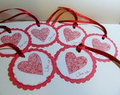 """Handstamped """"I Love Us"""" Gift Tags with Red Ribbon Hangers - Gift Tags -Gifts/Birthdays/Valentine Day"""