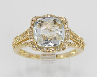 2.68 ct Diamond and Aquamarine Ring Halo Engagement Ring Aqua 14K Yellow Gold Size 7