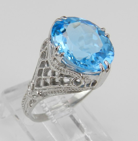 antique ring deco ring blue topaz solitaire by galaxygems