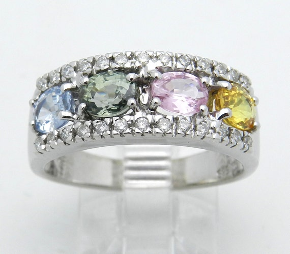 Diamond Multi Color Sapphire Wedding Ring Anniversary Band 14K White Gold Pink Blue Green Size 7.75
