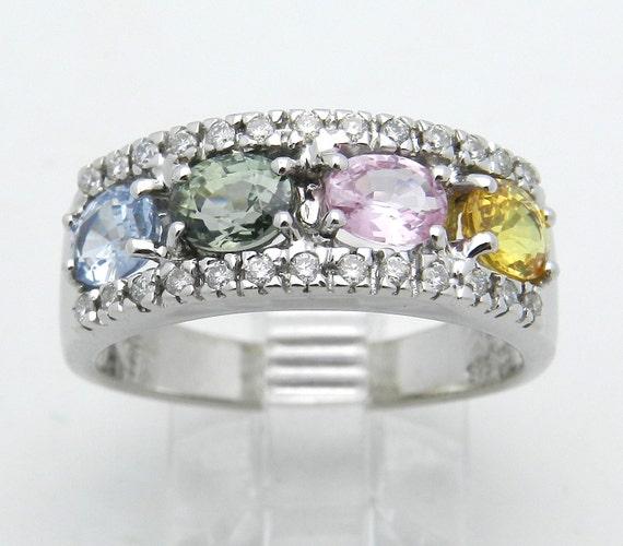 Diamond Multi Color Sapphire Wedding Ring Anniversary Band 14K