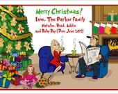Cozy Fireplace & Chairs B - Custom Illustrated Christmas Card - Holiday Card - Hannukah Card - DIY Printable - Print Option Available