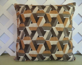 Geometric Pillow Cover in Brown Tan Taupe Beige / Triangles Pillow Cover / Decorative Pillow / Accent Pillow / 18 x 18 Pillow