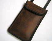 Cell Phone Cover neck / crossbody iPhone 6 Plus Case Large Smartphone Wallet Phone Purse stylish pouch Handmade pocket in Brown Black