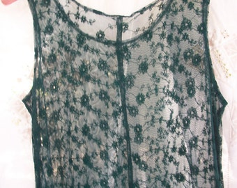 Layering Dress Green Sheer Lace with Flowers ~ Vintage ~ Sleeveless ~ See Through ~ Long Length