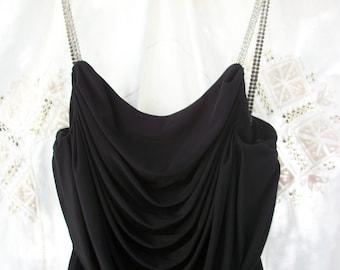 Vintage Black Cocktail Dress sz. 4 ~ Rhinestone Straps ~ By Ann Hobbs / Cattiva ~ Beautiful ~ USA made