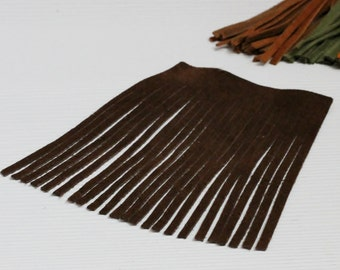 Genuine Leather Fringes, Dark Brown Suede