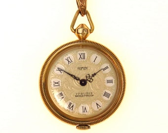 17 Jewels Victorian Revival Gold Pendant Watch