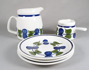 Rorstrand of Sweden, Irene pattern, handled sauce server, small pitcher, plates assorted set
