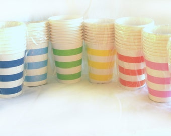 Striped PaRTy CuPs -with free DIY printable label file--Choose colors--mix&match-10ct