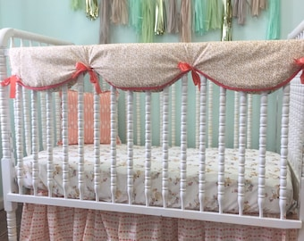 Bumperless Crib Bedding in Coral, Gray,and White with Beautiful Fawn Print