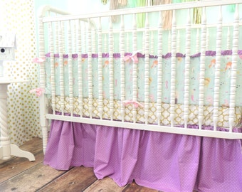 Baby Bedding, Mermaid Crib Bedding, Mermaid Baby Bumpers, Gold Crib Sheet, Gold Aqua Purple Nursery Bedding