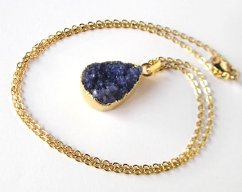 Indigo Druzy Necklace, Gift for Her, Genuine Drusy Stone, Gold Boho Jewelry, Natural Gemstone Pendant