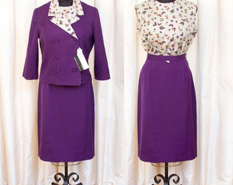 1960s Suit Set // Butterfly and Fruit Novelty Print Blouse with Purple Skirt and Matching Jacket by Cavalcade