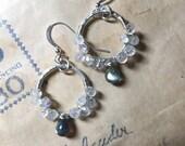 RESERVED Moonstone and labradorite hoop earrings