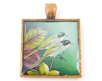Tropical Bird Pendant - Green Purple Yellow Tanager Colorful Hand Painted Nature Art Jewelry Charm