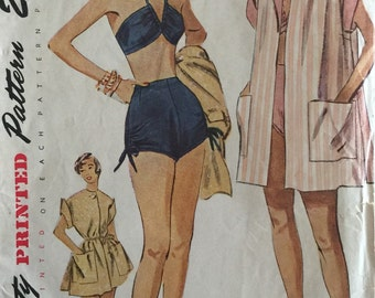 Vintage Sewing Pattern 50s Simplicity #3234 Two-piece Bathing Suit Swim Suit and Beach Cover-up Coat Pattern Size 12 Bust 30 ©1950 FF