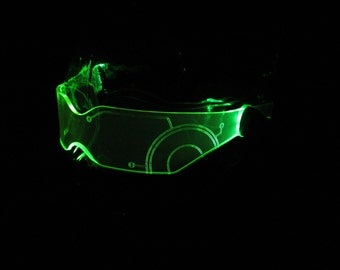 The Original Illuminated Cyber goth visor V2 green TRON