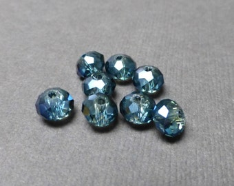Sparkly Rainbow Glass Beads. Rondelle Faceted Glass Beads. Dark Teal Glass Beads. 6mm. Eight (8).