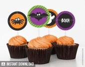 Halloween Stripes Party - Cupcake Toppers - Party Circles - INSTANT DOWNLOAD - Printable PDF