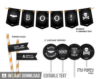 Black & White Halloween Party Pack - INSTANT DOWNLOAD - Printable PDF with Editable Text