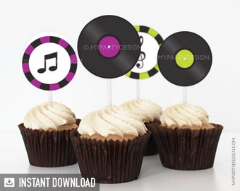 Music Party - Cupcake Toppers - Party Circles - Purple and Green - INSTANT DOWNLOAD - Printable PDF
