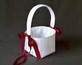 White lace wedding flower girl basket burgundy maroon satin ribbon bows