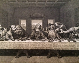 Antique 1895 Copper Engraving  The last Supper by Leonardo Da Vinci