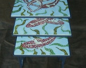 RESERVED Concrete Mosaic Table Hand Made Koi Fish Pattern Nesting Tables Vintage Wrought Iron Table Interior / Exterior Concrete Furniture