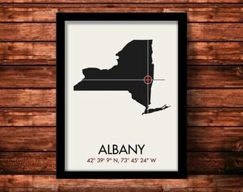 Albany Map Print | Albany Map Art | Albany Print | Albany Gift | New York Map | 11 x 14 Print