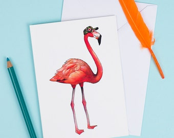 Flamingo in a Cap: A6 Birds in Hats Greetings Card