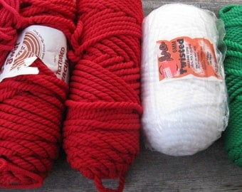 macrame cord christmas colors large lot vintage macrame yarn big skeins weaving supplies