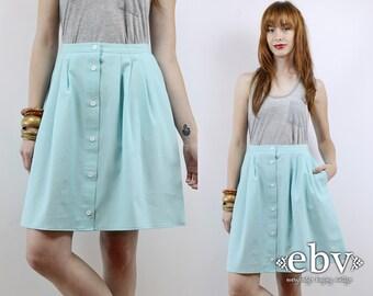 High Waisted Skirt Seafoam Skirt High Waist Skirt XL Mini Skirt Skater Skirt Vintage 80s High Waisted Seafoam Mini Skirt L XL