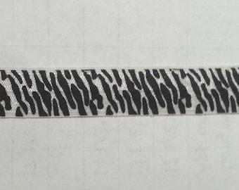 """ZEBRA Black & White Fold Over elastic headband  5/8""""  FOE wholesale yard 5 10 15 yards"""