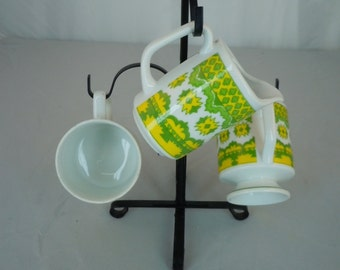 Vintage 1970's Ceramic Two Cups and Creamer in Yellow and Green Retro Design Coffee or Tea Set