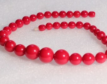 Vintage Art Deco Bakelite Beaded Necklace Cherry Color Graduated Beads Screw Clasp 1930s French Jewelry