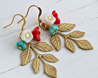 Gold Leaf Earrings  .. flower and leaf earrings, turquoise, red, cream, vintage style earrings