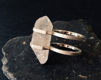 Double Banded Quartz Ring - Sterling Silver