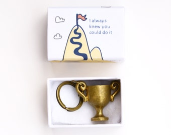 Brass trophy keychain - perfect gift for graduation or other important milestones