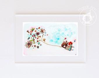 """Equinoccio - 4"""" x 6"""" Nursery Decor - Fine Art print - girl's room - baby girl's room - little girl flying flowers balloon girl illustration"""